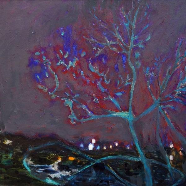 Kirsikkapuu tiistain vastaisena yönä, 65x65cm, akryyli 2016