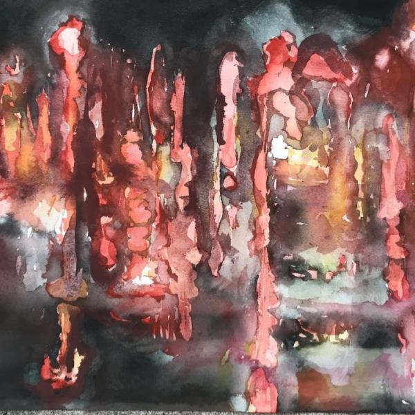 Punainen_hetki 3, 2020, 36x51 cm