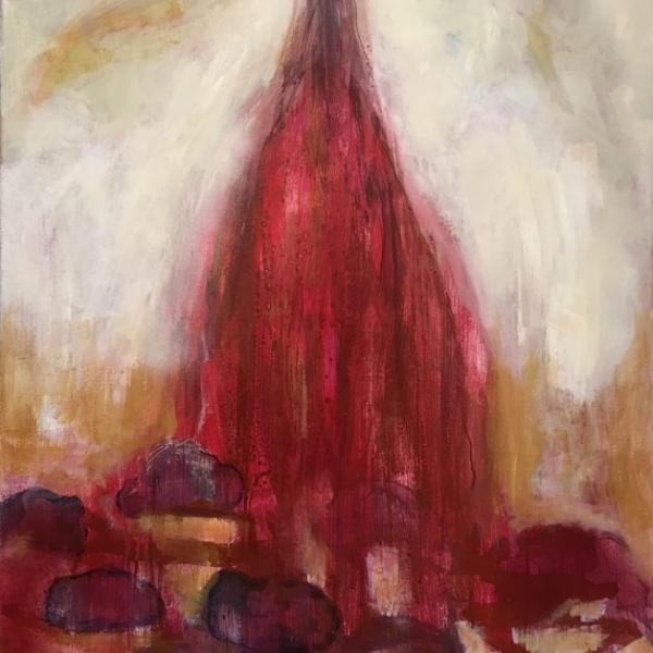 Punainen suihkukaivo 2018, 130x80 cm